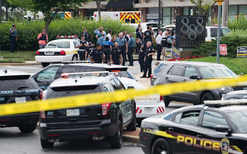 Police respond to the shooting in Annapolis, Maryland on Thursday - AFP