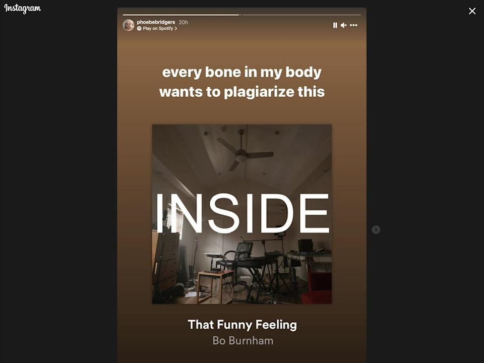 """A screenshot of Phoebe Bridgers' Instagram story showing her listening to a Bo Burnham song called """"That Funny Feeling."""""""