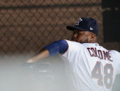 Minnesota Twins Alex Colome sets up to throw a ball during spring training baseball practice on Wednesday, Feb. 24, 2021, in Fort Myers, Fla. The Twins signed Colome away from their chief divisional competition, the Chicago White Sox. (AP Photo/Brynn Anderson)