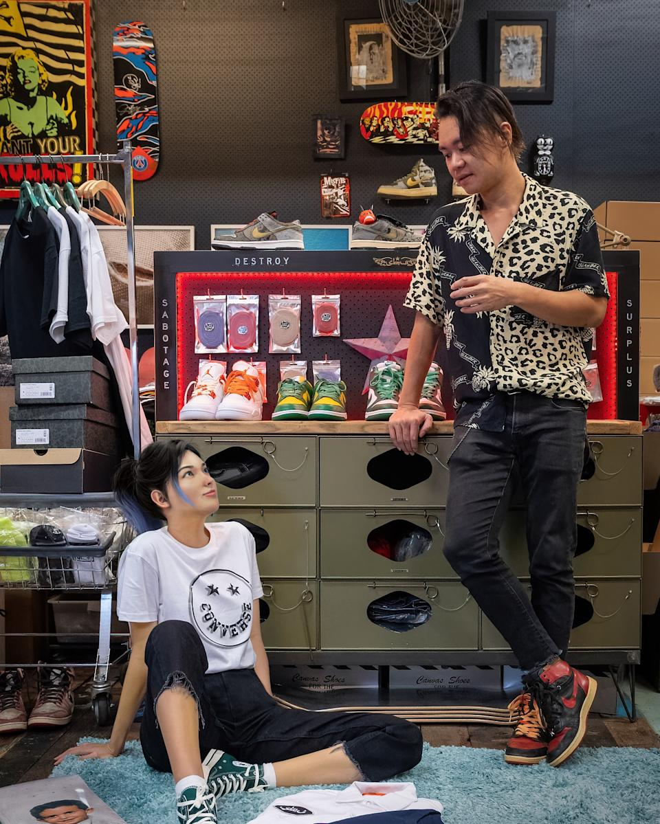 Rae (left) with SBTG founder Mark Ong (right) hanging at his studio. (PHOTO: SBTG)