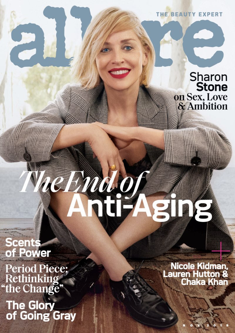 Sharon Stone is on the cover of Allure's November issue. (Photo: Emma Summerton for Allure)