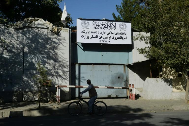 The Taliban have said they would implement a more moderate rule this time around but the reemergence of the vice ministry is seen as an ominous sign (AFP/Hoshang Hashimi)