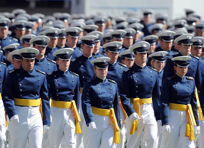 Air Force Academy Cadets walk onto the field at the start of the graduation ceremony for the US Air Force Academy at Falcon Stadium on May 23, 2012 in Colorado Springs, Colorado