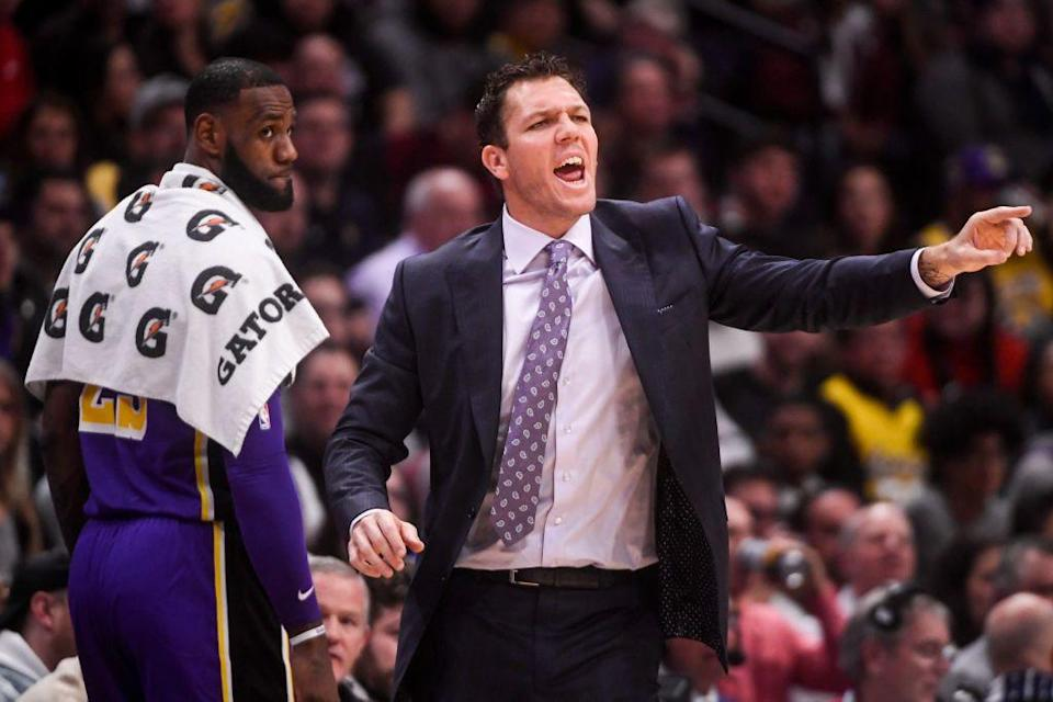 LeBron James was always hanging over Luke Walton's shoulder in his final season for the Lakers. (Getty Images)