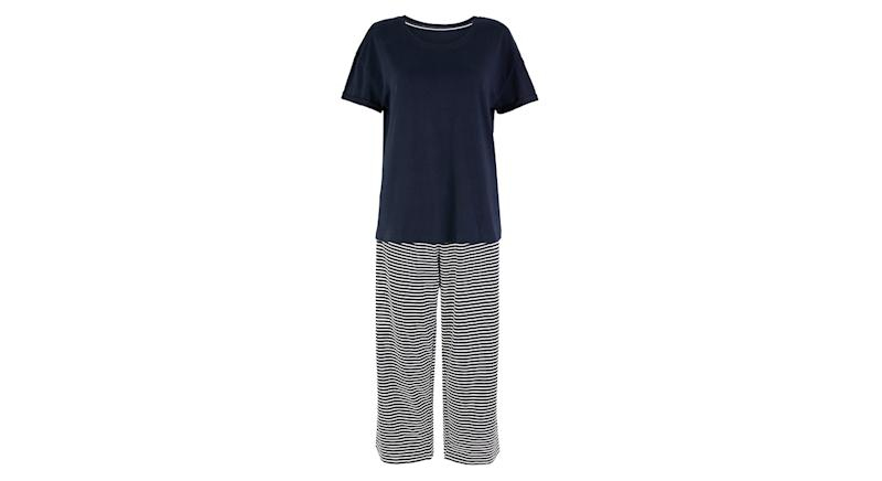 Pure Cotton Striped Cropped Pyjama Set