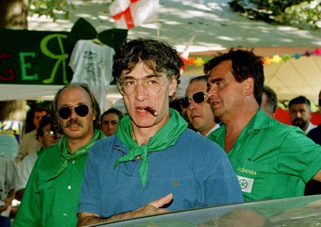 Northern League Leader Umberto Bossi arrives at a rally at one of his stops along the River Po as part of his