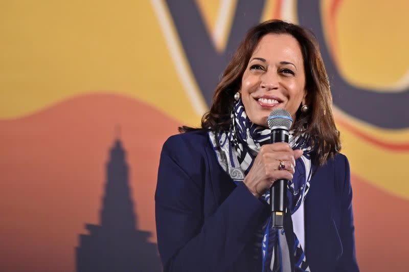 FILE PHOTO: U.S. Democratic vice presidential nominee Senator Kamala Harris makes an election campaign visit to Las Vegas