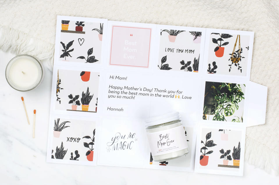 """<p>If you need a little help finding a thoughtful gift for mom, check out <a href=""""https://greetabl.com/"""" rel=""""nofollow noopener"""" target=""""_blank"""" data-ylk=""""slk:Greetabl's treat boxes"""" class=""""link rapid-noclick-resp"""">Greetabl's treat boxes</a>. After choosing a design along with a present, you can then add a personal touch with photos and a note. It's just as fun to customize and create as it is to receive one!</p> <p><strong>$20 and up, <a href=""""https://greetabl.com/"""" rel=""""nofollow noopener"""" target=""""_blank"""" data-ylk=""""slk:greetabl.com"""" class=""""link rapid-noclick-resp"""">greetabl.com</a></strong></p> <p><strong>*Use discount code ENTERTAINMENT15 for 15% off</strong></p>"""