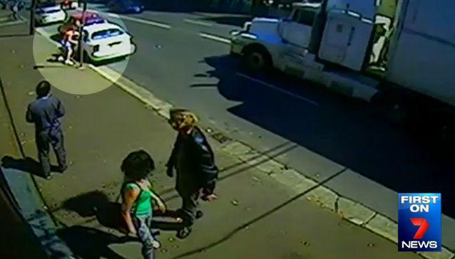 People walking past looked on in shock as Mulligan delivered four ruthless punches. Photo: 7 News