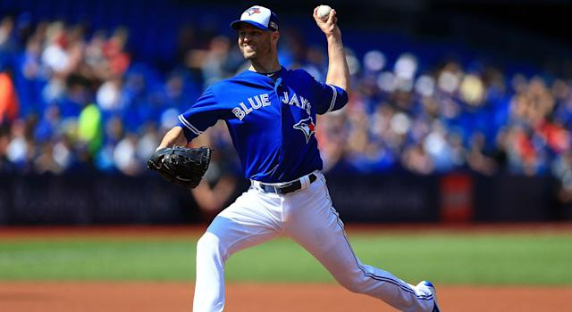 J.A. Happ #33 of the Toronto Blue Jays pitches in the first inning during MLB game action against the Detroit Tigers at Rogers Centre on September 10, 2017 in Toronto, Canada. (Photo by Vaughn Ridley/Getty Images)