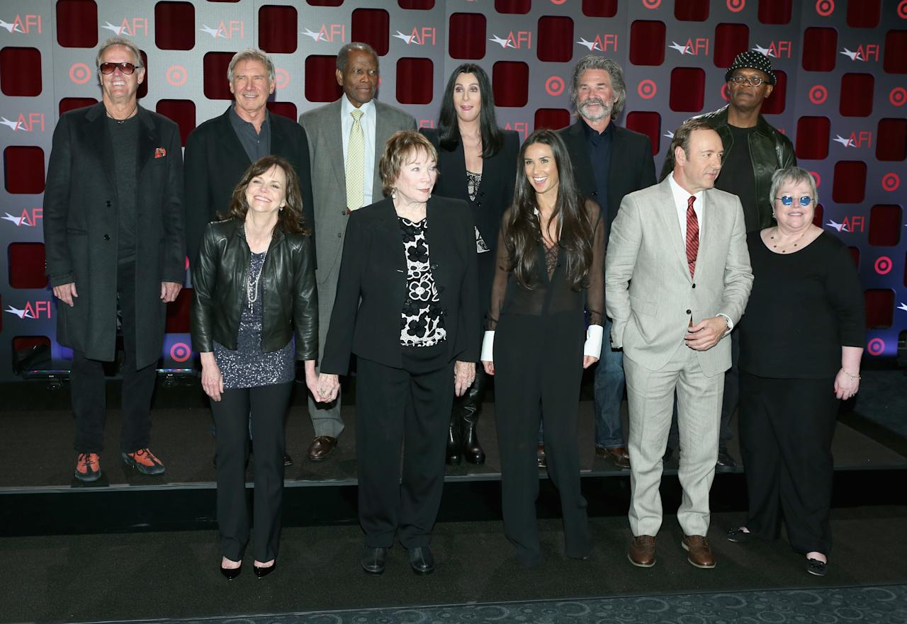 HOLLYWOOD, CA - APRIL 24:  (Top L-R) Actors Peter Fonda, Harrison Ford, Sidney Poitier, Cher, Kurt Russell, Samuel L. Jackson, (Bottom L-R) Sally Field, Shirley MacLaine, Demi Moore, Kevin Spacey and Kathy Bates attend Target Presents AFI's Night at the Movies at ArcLight Cinemas on April 24, 2013 in Hollywood, California.  (Photo by Jesse Grant/Getty Images for AFI)
