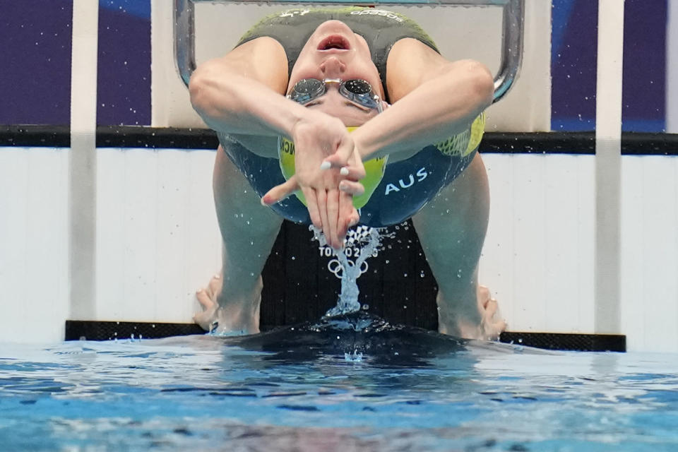 Kaylee McKeown, of Australia, swims in a semifinal heat of the women's 200-meter backstroke at the 2020 Summer Olympics, Friday, July 30, 2021, in Tokyo, Japan. (AP Photo/Gregory Bull)