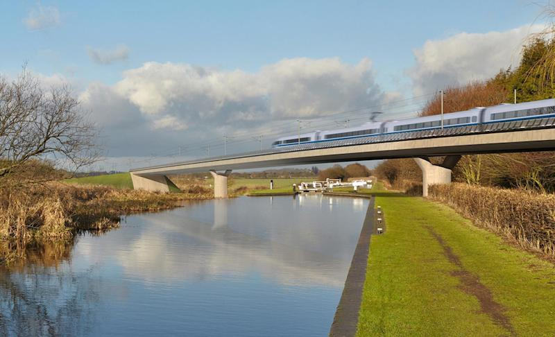 An artist's impression of a HS2 train on the Birmingham and Fazeley viaduct, part of the proposed route for the HS2 high speed rail scheme (Picture: PA)