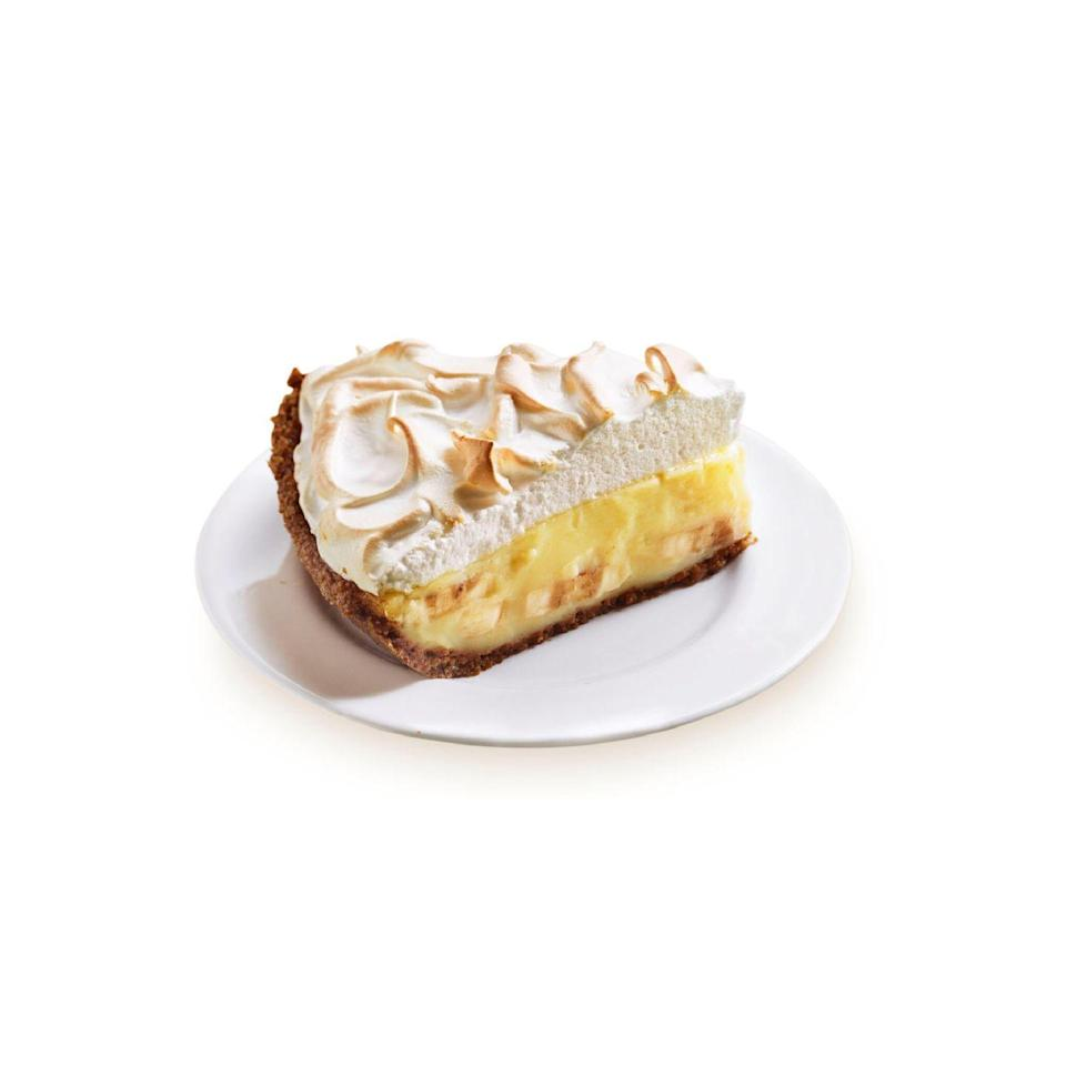 """<p>Silky vanilla custard and sliced ripe bananas form the layers of this heavenly cream pie. While a homemade crust isn't too tough to tackle, you can take a short cut with a store-bought crust.</p><p><em><a href=""""https://www.goodhousekeeping.com/food-recipes/a5161/banana-cream-pie-1415/"""" rel=""""nofollow noopener"""" target=""""_blank"""" data-ylk=""""slk:Get the recipe for Banana Cream Pie »"""" class=""""link rapid-noclick-resp"""">Get the recipe for Banana Cream Pie »</a></em></p>"""