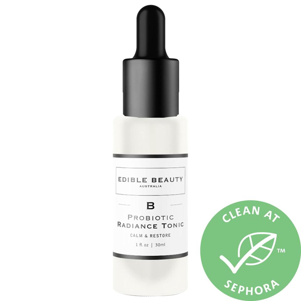 """<p>The top-rated <a href=""""https://www.popsugar.com/buy/Edible-Beauty-Probiotic-Radiance-Tonic-Serum-Calm-Restore-572832?p_name=Edible%20Beauty%20Probiotic%20Radiance%20Tonic%20Serum%20Calm%20and%20Restore&retailer=sephora.com&pid=572832&price=39&evar1=bella%3Aus&evar9=47461551&evar98=https%3A%2F%2Fwww.popsugar.com%2Fbeauty%2Fphoto-gallery%2F47461551%2Fimage%2F47461562%2FEdible-Beauty-Probiotic-Radiance-Tonic-Serum-Calm-Restore&list1=sephora%2Cdry%20skin%2Cacne%2Csensitive%20skin%2Cbeauty%20shopping%2Cskin%20care&prop13=mobile&pdata=1"""" class=""""link rapid-noclick-resp"""" rel=""""nofollow noopener"""" target=""""_blank"""" data-ylk=""""slk:Edible Beauty Probiotic Radiance Tonic Serum Calm and Restore"""">Edible Beauty Probiotic Radiance Tonic Serum Calm and Restore</a> ($39) balances skin with probiotics - specifically, lactobacillus bulgaricus ferment - in order to restore skin's proper pH and acid mantle. It's also packed with antioxidants and hydration to plump up fine lines and fight future signs of aging (and future breakouts), too.</p>"""