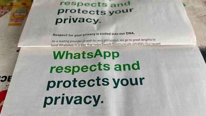 Newspapers carrying ads by WhatsApp