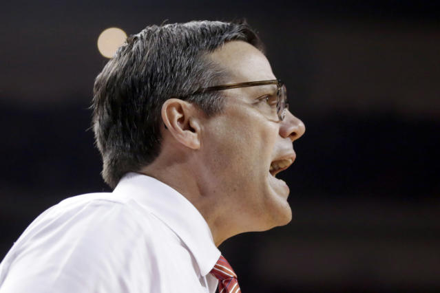 Nebraska coach Tim Miles yells instructions to his team during the first half of an NCAA college basketball game against Minnesota in Lincoln, Neb., Wednesday, Feb. 13, 2019. (AP Photo/Nati Harnik)