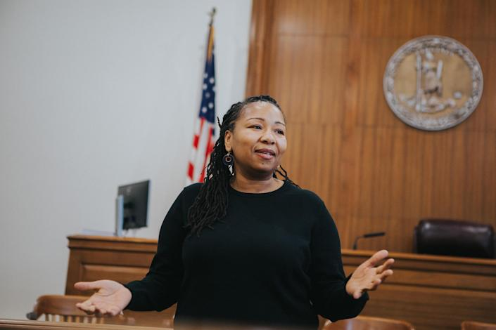 Nikuyah Walker makes a speech after she was sworn in as an elected city council member in Charlottesville, Va., on Dec. 29, 2017. (Photo: Eze Amos)