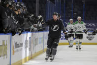 Tampa Bay Lightning's Ondrej Palat is congratulated for his goal against the Dallas Stars during the first period of an NHL hockey game Saturday, Feb. 27, 2021, in Tampa, Fla. (AP Photo/Mike Carlson)