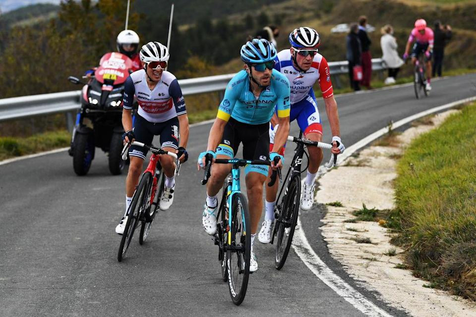 LEKUNBERRI SPAIN  OCTOBER 21 Ion Izagirre Insausti of Spain and Astana Pro Team  Bruno Armirail of France and Team Groupama  FDJ  Juan Pedro Lopez of Spain and Team Trek  Segafredo  Breakaway  during the 75th Tour of Spain 2020 Stage 2 a 1516km stage from Pamplona to Lekunberri  lavuelta  LaVuelta20  La Vuelta  on October 21 2020 in Lekunberri Spain Photo by David RamosGetty Images