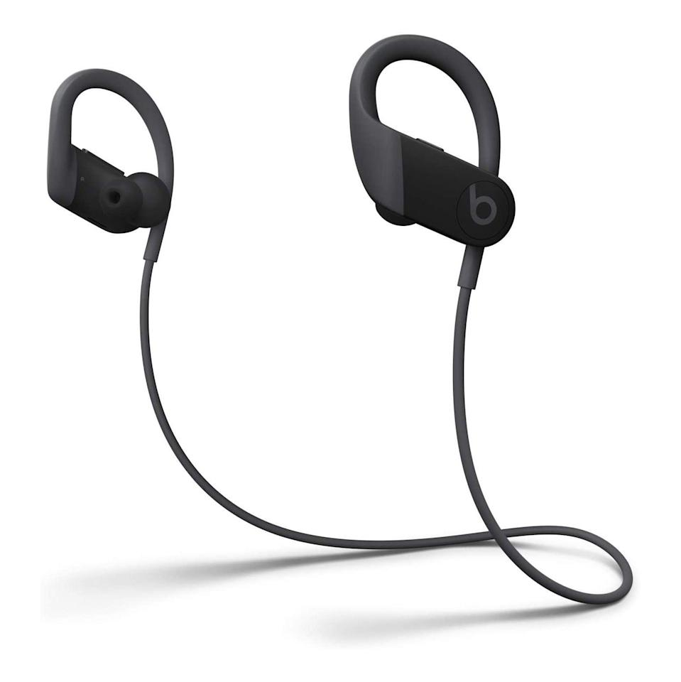 """<p><strong>Beats</strong></p><p>amazon.com</p><p><strong>$110.99</strong></p><p><a href=""""https://www.amazon.com/dp/B0858JWG2S?tag=syn-yahoo-20&ascsubtag=%5Bartid%7C2141.g.36665348%5Bsrc%7Cyahoo-us"""" rel=""""nofollow noopener"""" target=""""_blank"""" data-ylk=""""slk:Shop Now"""" class=""""link rapid-noclick-resp"""">Shop Now</a></p><p><em>IPX4   15 hours</em></p><p>Those same Powerbeats from above are also great as a wired option—and reviewers say that their sound quality is pristine. Low battery isn't an issue, either, since just <strong>five minutes of charging offers up to one hour of juice</strong>. """"I am blown away,"""" says one Amazon shopper, who raves about their incredible audio, adjustable sound quality, great battery life, and comfort. """"It will take a little time to get them comfortable, but that's no problem.""""</p>"""
