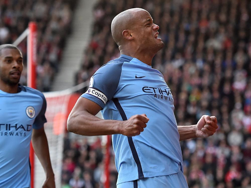Vincent Kompany could not contain his delight after scoring his first goal since 2015: Getty