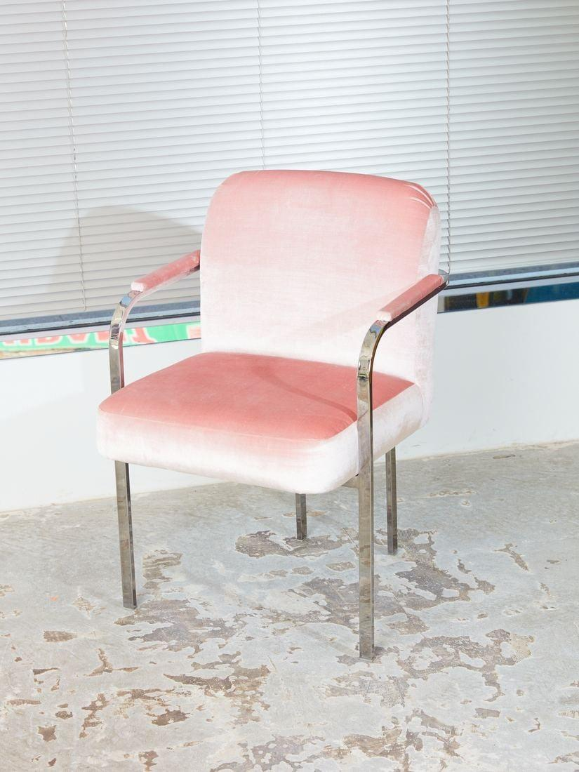 <p>With its plush pink velvet to the shiny chrome plating, this <span>Vintage Chrome Chair</span> ($700, originally $850) will make a comfortable addition to your office space. </p>