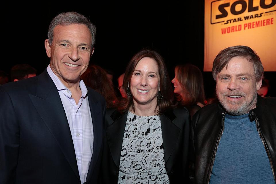 <p>Disney's Bob Iger with Lucasfilm chief Kathleen Kennedy and Mark Hamill. (2018 Getty Images) </p>