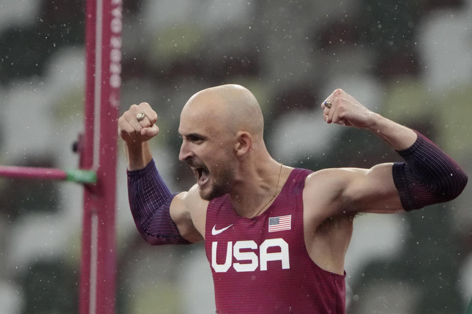 Sam Grewe of the United States reacts in the men's high jump T63 final during the Tokyo 2020 Paralympics Games at the National Stadium in Tokyo, Japan, Tuesday, Aug. 31, 2021. (AP Photo/Eugene Hoshiko)