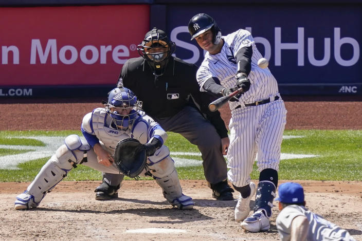 New York Yankees' Gary Sanchez hits a home run off Toronto Blue Jays starting pitcher Ross Stripling during the fourth inning of a baseball game, Saturday, April 3, 2021, in New York. (AP Photo/John Minchillo)