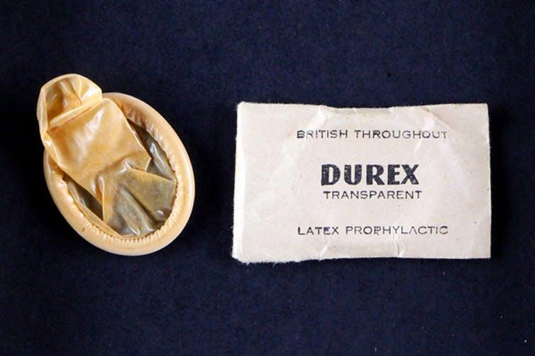 Historic Durex rolled condom and packaging