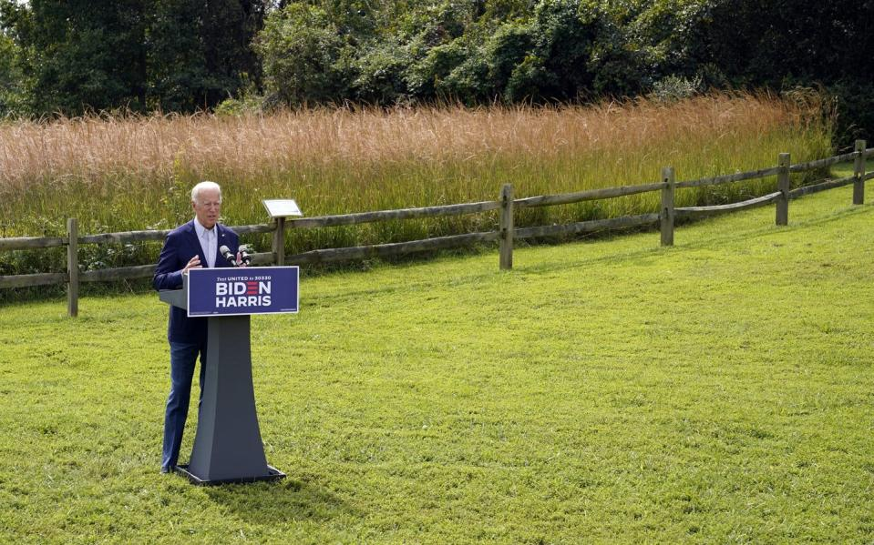 "<span class=""caption"">Joe Biden speaks about climate change and wildfires affecting western states on Sept. 14, 2020, in Wilmington, Del.</span> <span class=""attribution""><span class=""source""> (AP Photo/Patrick Semansky)</span></span>"