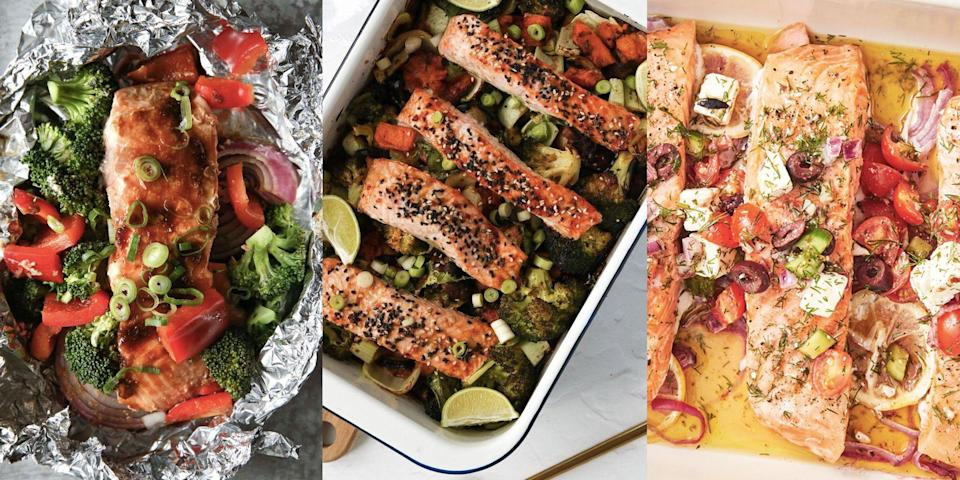 """<p>Let's face it, <a href=""""https://www.delish.com/uk/cooking/recipes/g29843028/healthy-salmon-recipes/"""" rel=""""nofollow noopener"""" target=""""_blank"""" data-ylk=""""slk:salmon"""" class=""""link rapid-noclick-resp"""">salmon</a> traybake is the one of the easiest and most versatile meals around. You can bung anything in, whip together a quick glaze or marinade, and if you fancy, you can even finish with a bunch of easy <a href=""""https://www.delish.com/uk/cooking/recipes/g37032300/salmon-side-dishes/"""" rel=""""nofollow noopener"""" target=""""_blank"""" data-ylk=""""slk:sides"""" class=""""link rapid-noclick-resp"""">sides</a> like <a href=""""https://www.delish.com/uk/cooking/recipes/g36644806/fried-rice-recipe/"""" rel=""""nofollow noopener"""" target=""""_blank"""" data-ylk=""""slk:fried rice"""" class=""""link rapid-noclick-resp"""">fried rice</a> or <a href=""""https://www.delish.com/uk/cooking/recipes/g33323657/grilled-vegetables/"""" rel=""""nofollow noopener"""" target=""""_blank"""" data-ylk=""""slk:grilled veg"""" class=""""link rapid-noclick-resp"""">grilled veg</a> (although, all of our recipes are loaded with delicious veg - one-tray wonders, am I right?). From <a href=""""https://www.delish.com/uk/cooking/recipes/a35762840/teriyaki-salmon/"""" rel=""""nofollow noopener"""" target=""""_blank"""" data-ylk=""""slk:Teriyaki Salmon Traybake"""" class=""""link rapid-noclick-resp"""">Teriyaki Salmon Traybake</a> to <a href=""""https://www.delish.com/cooking/recipe-ideas/recipes/a48689/baked-cajun-salmon-recipe/"""" rel=""""nofollow noopener"""" target=""""_blank"""" data-ylk=""""slk:Baked Cajun Salmon"""" class=""""link rapid-noclick-resp"""">Baked Cajun Salmon</a>, and <a href=""""https://www.delish.com/uk/cooking/recipes/a29205150/greek-salmon-recipe/"""" rel=""""nofollow noopener"""" target=""""_blank"""" data-ylk=""""slk:Greek Salmon"""" class=""""link rapid-noclick-resp"""">Greek Salmon</a> to <a href=""""https://www.delish.com/uk/cooking/recipes/a29771277/pineapple-salmon-sheet-pan-dinner-recipe/"""" rel=""""nofollow noopener"""" target=""""_blank"""" data-ylk=""""slk:Pineapple Salmon"""" class=""""link rapid-noclick-resp"""">Pineapple Salmon</a>, we've pulled together out to"""
