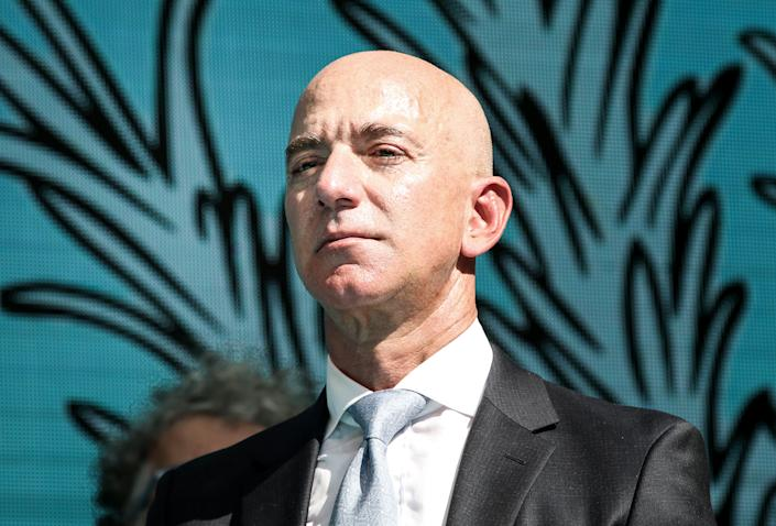 ISTANBUL, TURKEY - OCTOBER 2:  Amazon CEO Jeff Bezos attends a commemoration ceremony held in front of Saudi consulate on the first anniversary of his murder, in Istanbul, Turkey on October 02, 2019.   (Photo by Elif Ozturk/Anadolu Agency via Getty Images)