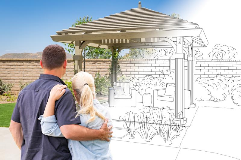 Couple Facing Pergola Drawing Gradating To Photo.