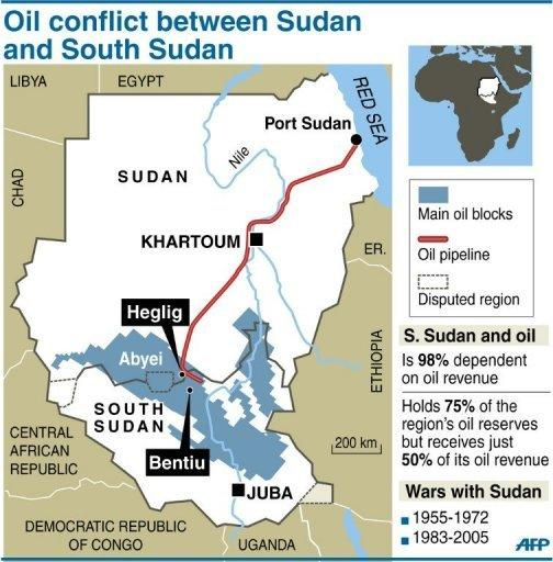 A map of Sudan and South Sudan locating the main oil blocks, pipeline and oil towns of Heglig and Bentiu. Sudan pledged on Thursday to cease hostilities with South Sudan in accordance with a UN Security Council resolution, hours after the South alleged fresh Sudanese bombing of its border region