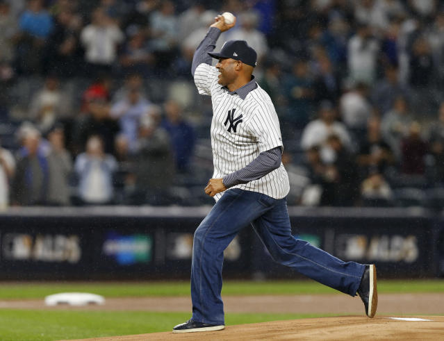 Mariano Rivera throws out the ceremonial first pitch in New York before Game 4 of the ALDS on Oct. 9, 2017. (AP)
