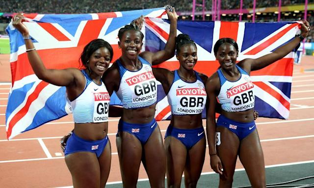 """<span class=""""element-image__caption"""">Dina Asher-Smith, third from left, with her Great Britain team-mates after their 4x100m silver in the world championships.</span> <span class=""""element-image__credit"""">Photograph: John Patrick Fletcher/Action Plus via Getty Images</span>"""