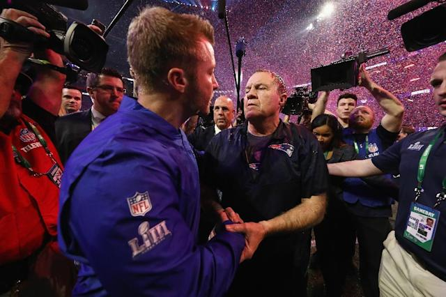 """""""Out-coached"""" - Los Angeles Rams coach Sean McVay congratulates New England coach Bill Belichick on the Patriots' Super Bowl 53 victory (AFP Photo/JAMIE SQUIRE)"""