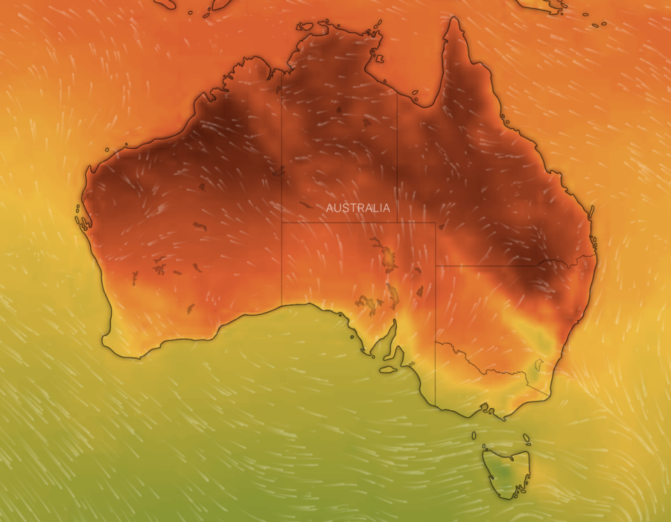 A map of Australia showing temperarture.