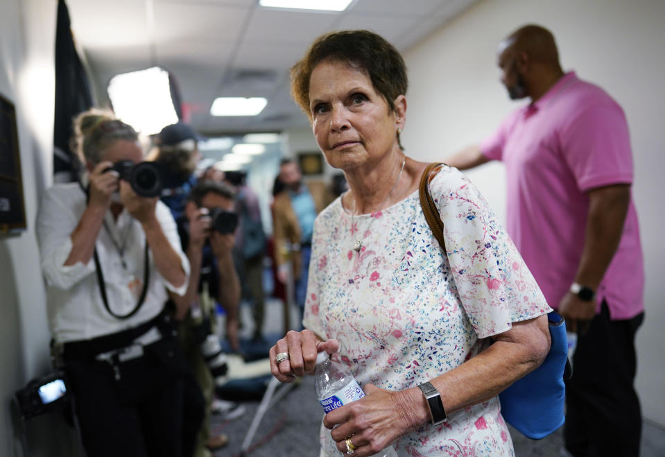 Gladys Sicknick, mother of the late Capitol Police officer Brian Sicknick, arrives at the office of Sen. Ron Johnson, R-Wisc., at the Capitol in Washington, Thursday, May 27, 2021. (AP Photo/J. Scott Applewhite)