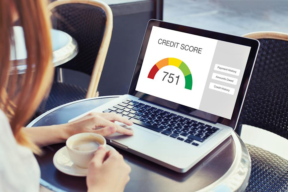 credit score concept on the screen of computer
