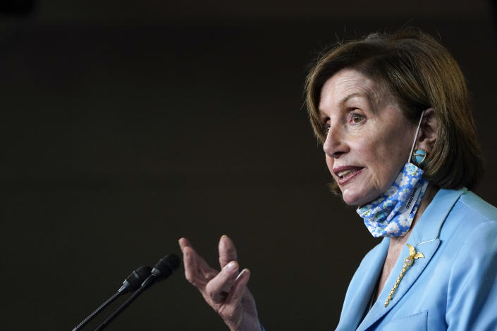 House Speaker Nancy Pelosi of Calif., talks to reporters on Capitol Hill in Washington, Wednesday, May 19, 2021, about legislation to create an independent, bipartisan commission to investigate the Jan. 6 attack on the United States Capitol Complex. (AP Photo/Susan Walsh)