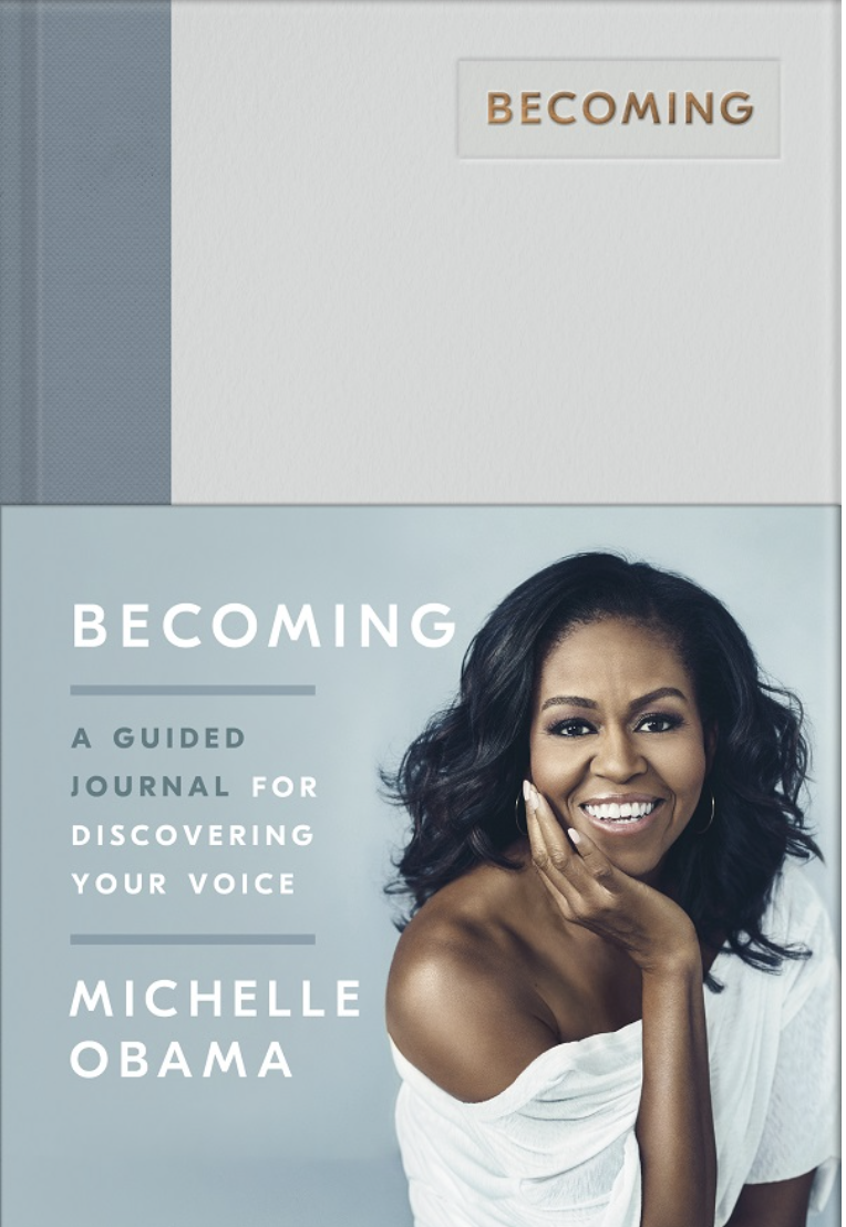 PHOTO: Kinokuniya. Becoming: A Guided Journal for Discovering Your Voice, hardcover by Michelle Obama.