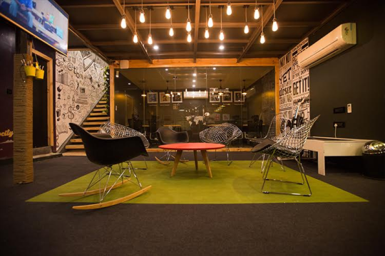 Bold furniture with a focus on contemporary art forms & steel ceilings.