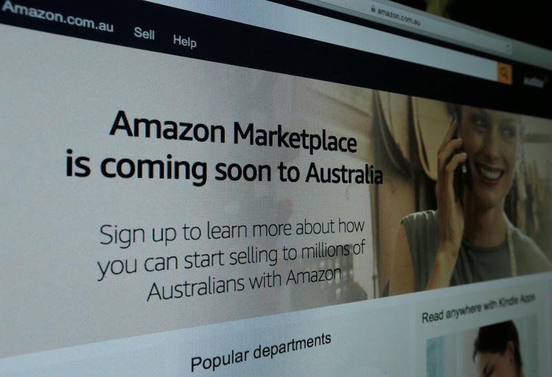 A web page featuring Amazon's Australian URL is pictured in this photo illustration in a Sydney office, Australia