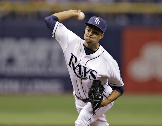 Tampa Bay Rays starting pitcher Chris Archer delivers to the Los Angeles Angels during the first inning of a baseball game Saturday, Aug. 2, 2014, in St. Petersburg, Fla. (AP Photo/Chris O'Meara)