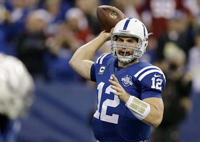Indianapolis Colts quarterback Andrew Luck throws against the Houston Texans during the first half of an NFL football game in Indianapolis, Sunday, Dec. 15, 2013. (AP Photo/Michael Conroy)
