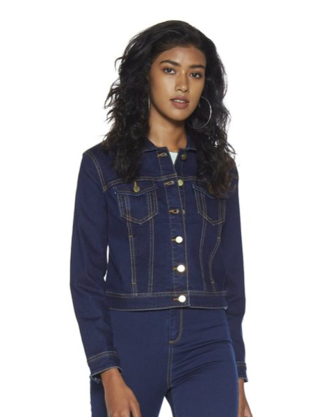 "<a href=""https://fave.co/35n31Rb"">BUY HERE</a> Dark blue cropped denim jacket with contrast stitching, by Nuon from Tata Cliq, for Rs. 1,699"