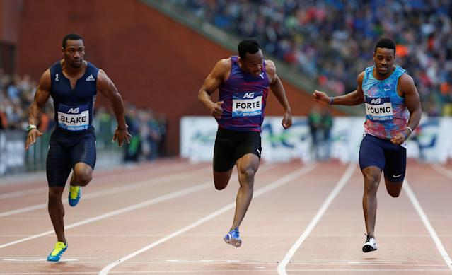 Athletics - IAAF Diamond League Final - Brussels, Belgium - September 1, 2017 Yohan Blake of Jamaica (L) wins the Men's 100 Metres REUTERS/Francois Lenoir